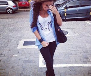 beautiful smile, black jeans, and famous image