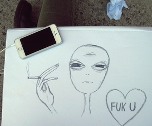 alien, iphone, and grunge image