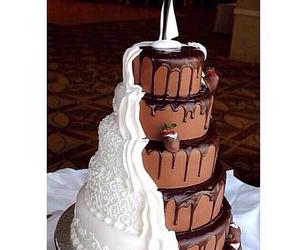 cake, chocolate, and wedding image