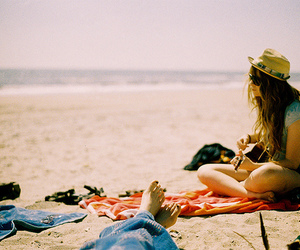 beach, girl, and guitar image