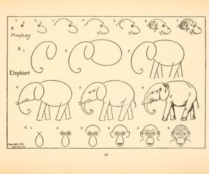 elephant, monkey, and vintage image
