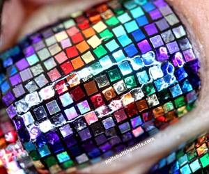 glitter, nail art, and rainbow image