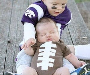 baby, football, and brothers image