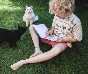 boy, cats, and drawing image