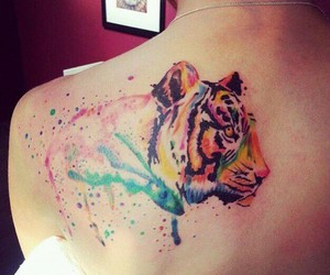 tattoo, tiger, and colorful image