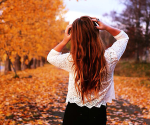 autumn, hair, and clothes image