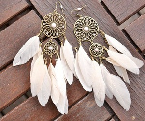earrings, feather, and white image