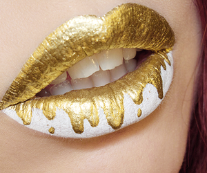 lips, gold, and white image