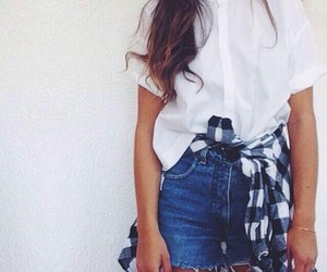 fashion, flannel, and shorts image