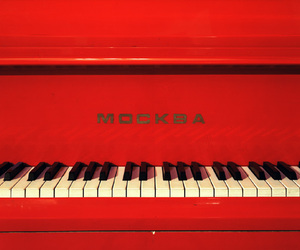 red, piano, and music image