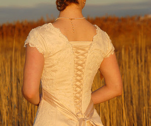 bride, prairie, and girl image