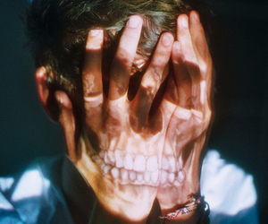 boy, skull, and hands image