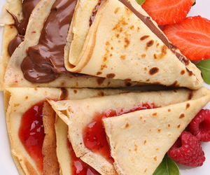 food, crepes, and strawberry image