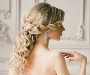 beautiful, bridal, and hairstyle image
