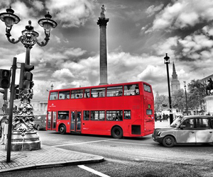 london, bus, and red image