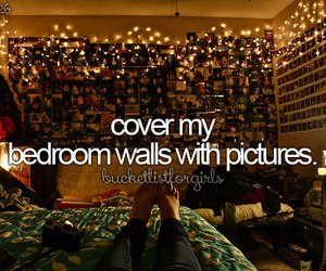 wall, bedroom, and pictures image