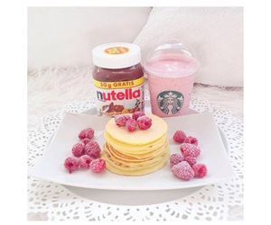 breakfast, nutella, and pancakes image