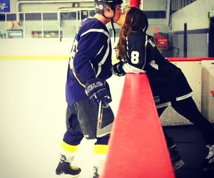 love, couple, and hockey image