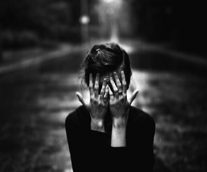 black and white, hands, and sad image