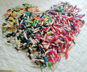bottles, heart shaped, and nail polish image