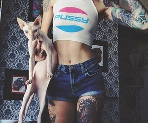 tattoo, girl, and cat image