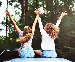 best friends, car, and girl image
