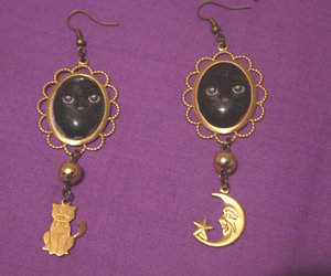 cat, earrings, and fashion image