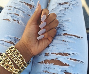 nails, jeans, and gold image