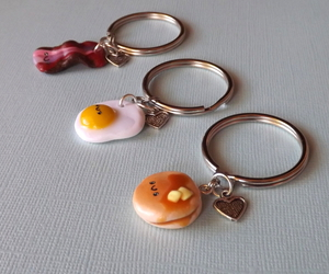 best friends, polymer clay food, and keychain set image