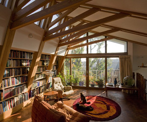 armchair, bookshelves, and cats image