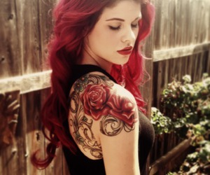 tattoo, red, and rose image
