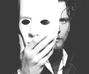 mask, w&b, and jack o'connell image