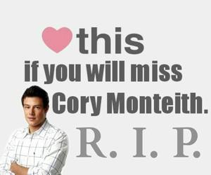 cory monteith, rip, and glee image