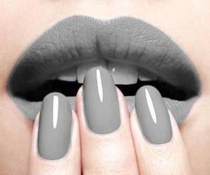 nails, lips, and grey image