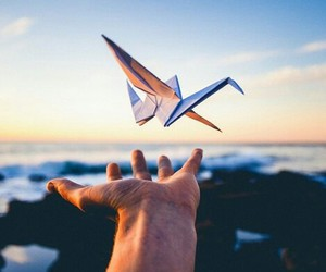sky, hand, and fly image