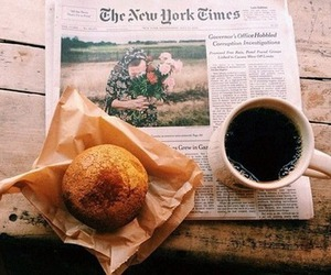 coffee, newspaper, and breakfast image