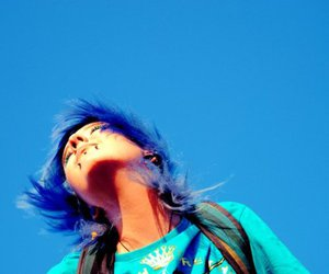 blue hair, girl, and gauges image