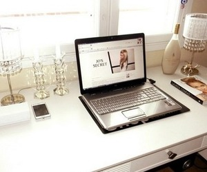 laptop, desk, and home image