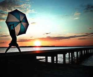 girl, umbrella, and sunset image