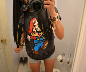 girl, mario, and camera image