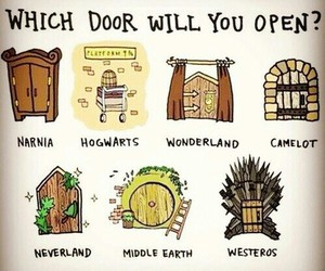 narnia, hogwarts, and door image