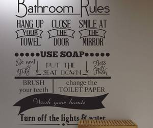 muursticker, bathroom rules, and badkamer regels image