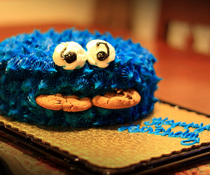 cake, blue, and cookie monster image