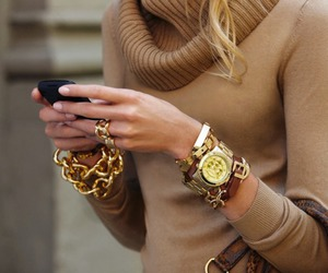 fashion, gold, and watch image
