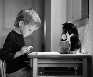 cat, boy, and black and white image