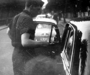 black and white, boy, and car image