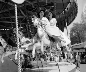 black and white, happy, and girls image