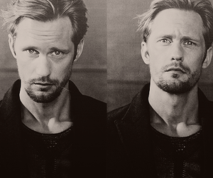 alexander skarsgard, true blood, and black and white image
