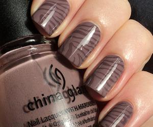 nail polish, nails, and zebra print image