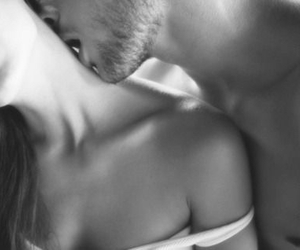 black & white, intimate, and couple image